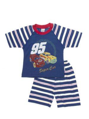 Пижама для мальчика летняя синяя в машинки