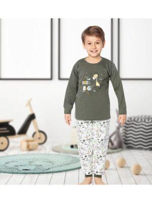 Теплая пижама для мальчика цвета хаки 924