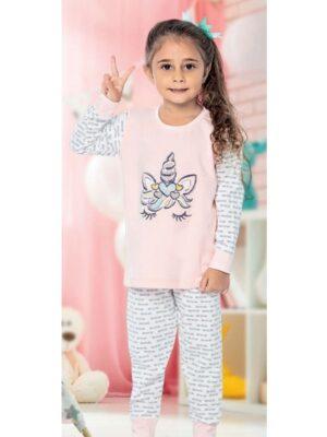 Піжама для дівчинки персиковий колір з єдинорогом