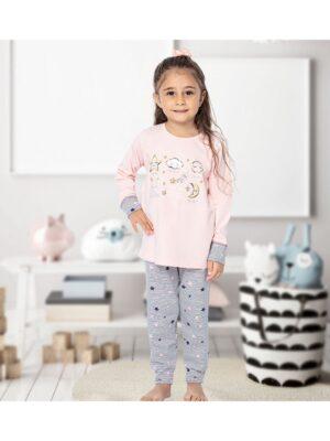 Піжама для дівчинки персикова з сірими штанцями
