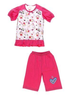 Піджама з коротким рукавом і шортиками для дівчинки малинова