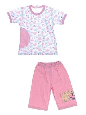 Піжама з коротким рукавом і шортиками для дівчинки рожева