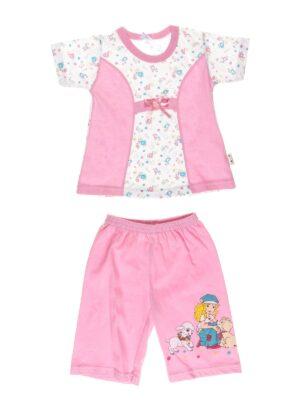 Піжама з коротким рукавом і шортиками для дівчинки блакитна