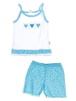 Піжама для дівчинки Маєчка з шортиками біла з блакитним з сердечками