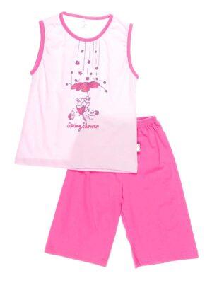 Піжама для дівчинки Kazan bebe рожева з дівчинкою з квіточками