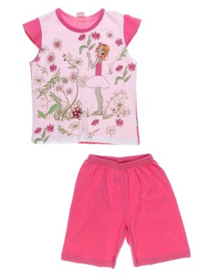 Піжама для дівчинки Kazan bebe малинова з дівчинкою в квіточках