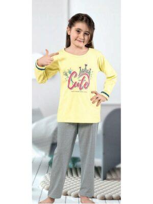 Піжама для дівчинки щільний трикотаж жовтого кольору