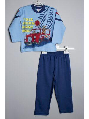 Пижама для мальчика голубо-синяя с длинным рукавом