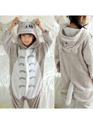 Кігурімі піжама для дітей тканина сіро біла велсофт