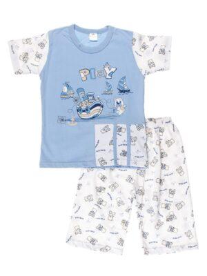 Піжама з коротким рукавом і шортиками для хлопчика блакитна