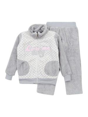 Теплый костюм для девочек цвет розовый и серый