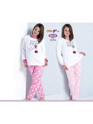 Пижама для девочки теплая белая c розовым