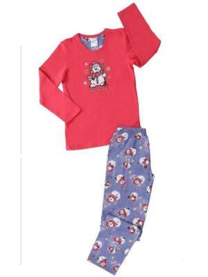 Теплая пижама для девочек с начесом цвет малиновый 3079-Vienetta-Secret