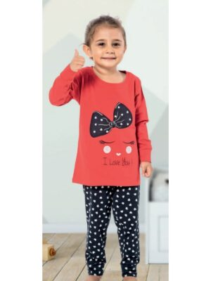 Пижама для девочки трикотажная красная с синим бантиком