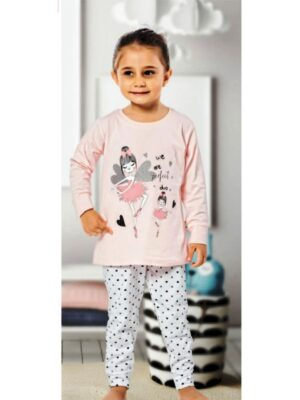 Пижама для девочки с трикотажа цвета персика с принтом феи 165 Kazan bebe