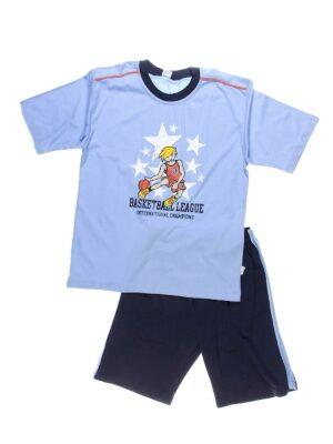 Піжама для хлопчика футболка з шортами блакитна з синім