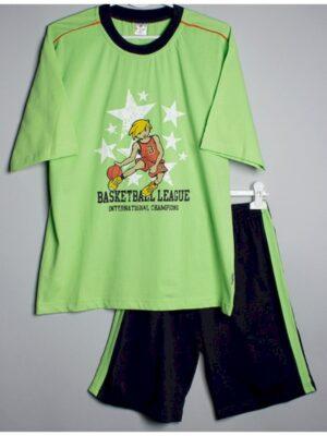Пижама для мальчика  футболка с шортами салатовая