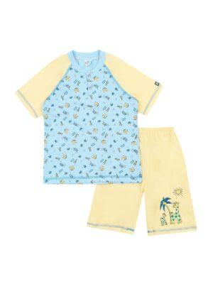 Піжама для хлопчика з коротким рукавом жовто блакитна