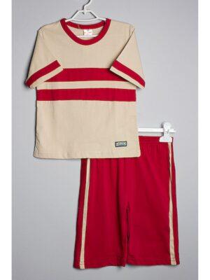Пижама для мальчика бежевая с красным