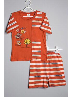 Пижама для мальчика салатовая в полосочку с мишкой