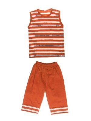 Пижама для мальчика темно оранжевая в полоску