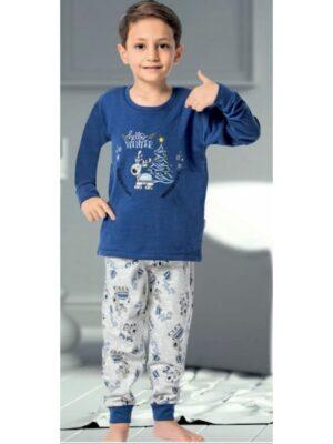 Теплая пижама для мальчика синего цвета