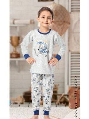 Теплая пижама для мальчика серая в новогоднюю тематику