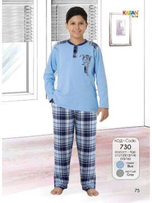 Пижама для мальчиков голубая плотный трикотаж длинный рукав