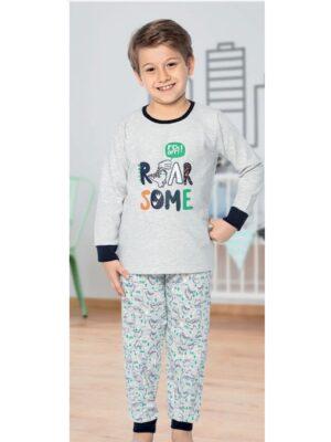 Тепла піжама для хлопчика сіра з принтом м'ячів