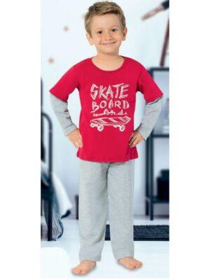 Тепла піжама для хлопчика червоно сіра з принтом скейт