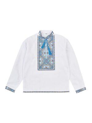 Сорочка для хлопчика біла з блакитною вишивкою Музика