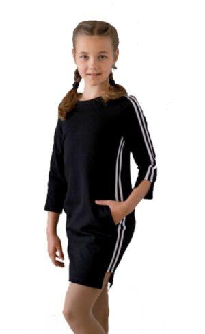 Платья для девочки черное с лампасой по боку Арт.181 Filatova Tatiana