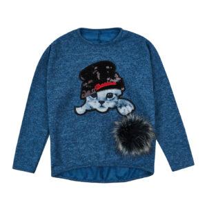 Реглан для дівчинки синій з котиком Арт.22 Tess