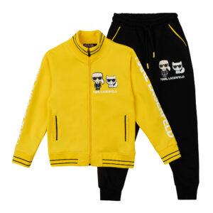 Спортивний костюм жовтий верх чорний низ Арт.2710-3 Fagiss