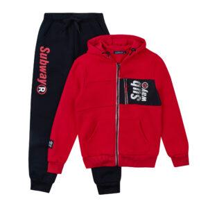 Спортивний костюм для хлопчика червоний теплий з начосом Арт. 86980 Grace