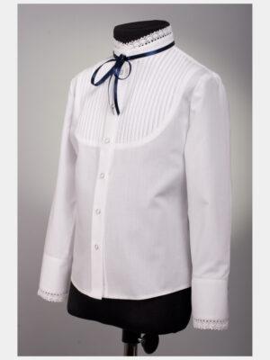 Блуза для дівчинки біла з синім шнурочком Арт.186 Велма
