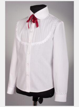 Блуза для дівчинки біла з бордо стрічкою 190 Велма
