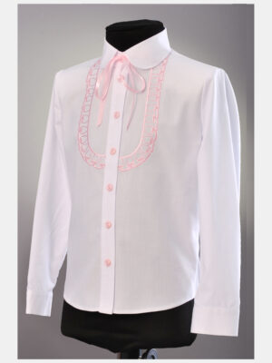 Блуза для дівчинки біла з рожевою вишивкою 198 Велма
