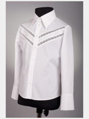 Блузка для дівчинки біла з декоративними вставками на грудях 187 Велма
