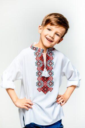 Вышиванка для мальчика белая Подолянин с красной вышивкой Piccolo