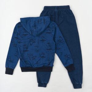 Спортивный костюм синий в принт и желтую комбинацию Арт.80009 Grace