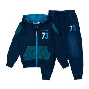 Спортивный костюм для мальчика под джынсу сине-голубой Арт.80003 Grace