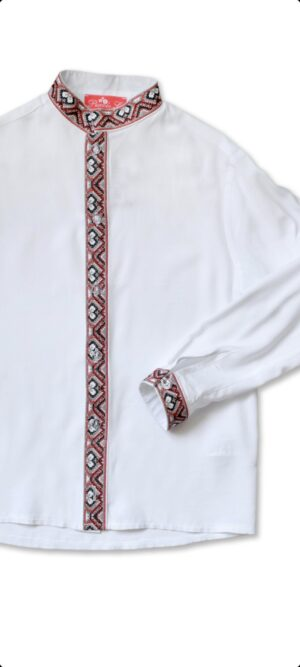 Детская рубашка вышиванка с вышитой планкой для мальчика Арт.Водограй  красно серая вышивка Piccolo