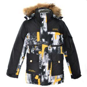 Куртка для хлопчика зимова парку жовто чорна Арт. D20 Aololap