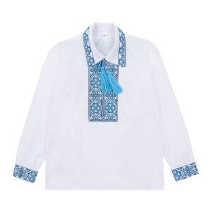 Вишиванка для хлопчика в блакитну вишиванку спереду і на спині Стожари Демісезон Сварга