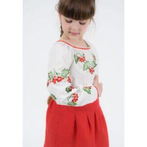 Вишиванка для дівчинки біла вишивка калини біла Арт.Каліна-1 Гармонія
