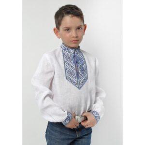 Вишиванка для хлопчика льяним з блакитною вишивкою Арт.Семья Велеса Гармонія