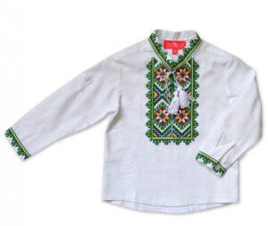 Вышиванка для мальчика белая с зеленой вышивкой Арт. Легень-1 Piccolo