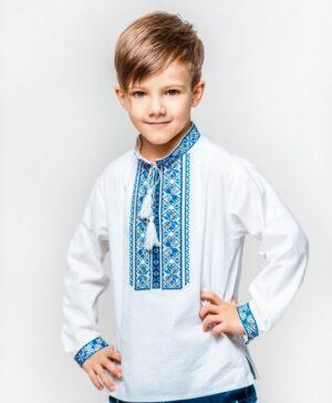 Вышиванка для мальчика белая с голубой вышивкой Арт. Киянин Piccolo