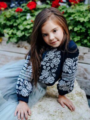 Вишиванка для девочки синяя с белой вышивкой Арт. Билослава Piccolo
